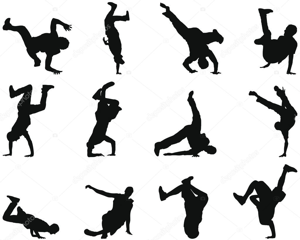 Collection of different break-dance silhouettes. Vector illustration. — Imagen vectorial #3652449