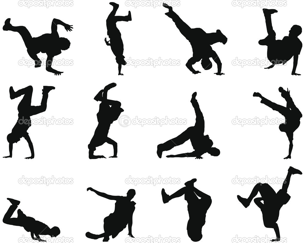 Collection of different break-dance silhouettes. Vector illustration. — Imagens vectoriais em stock #3652449