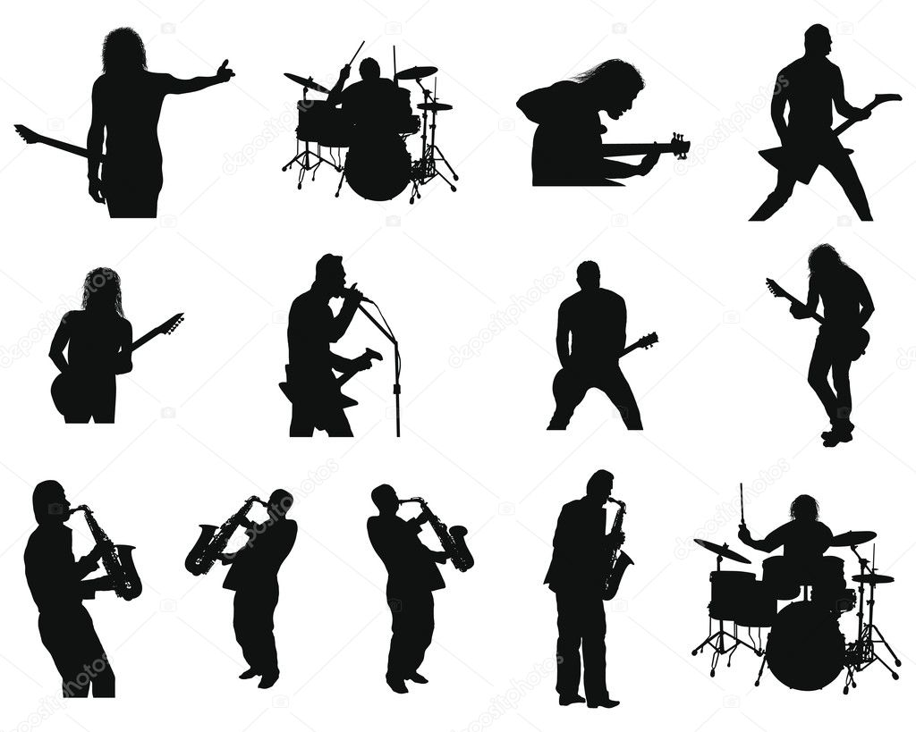 Collection of different rock and jazz silhouettes. Vector illustration. — Stock Vector #3652589