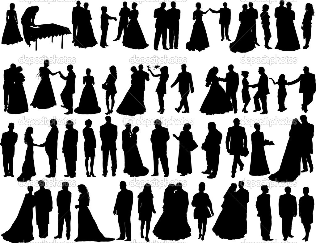 Big vector collection of wedding silhouettes isolated on white — Stock Vector #3658042