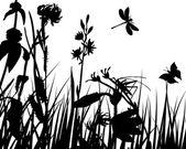 花のシルエット — ストックベクタ