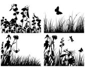 Grass silhouettes set — Stock Vector