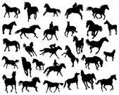 Paarden silhouetten — Stockvector