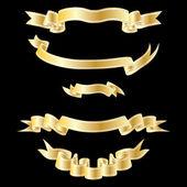 Gold ribbons set — Stock Vector