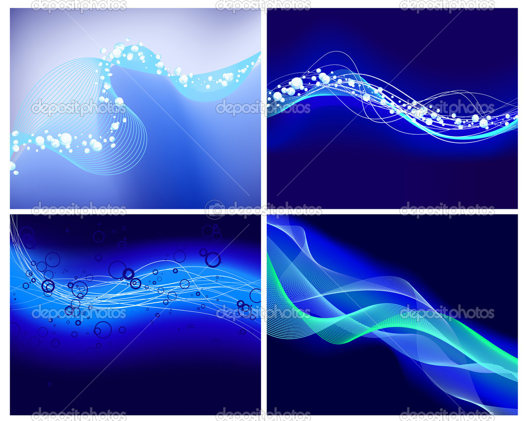 Abstract water vector background set  with neon glowing  — Stock Vector #3660933