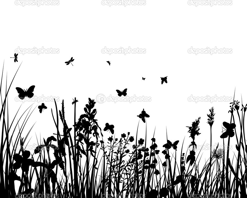 Vector grass silhouettes backgrounds with insects — Stock Vector #3661078
