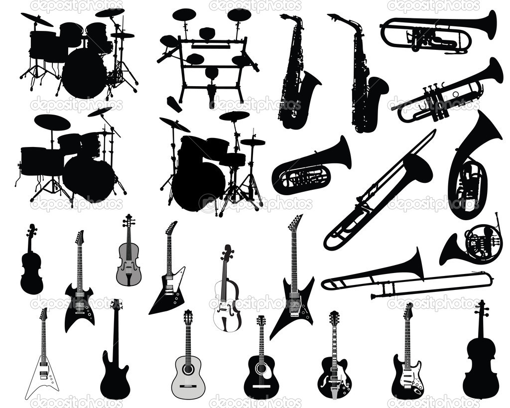 Set of different stringed, wind and percussion instruments  — Stock Vector #3662270