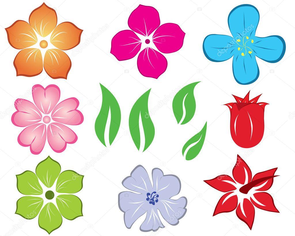 Большие нарисованные цветы