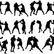 Royalty-Free Stock Imagen vectorial: Boxing silhouette set