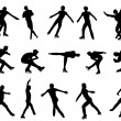 Mans figure skating silhouette set - Stock Vector