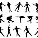 Mans figure skating silhouette set — Stock Vector