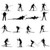 Biathlon silhouette set — Stock Vector
