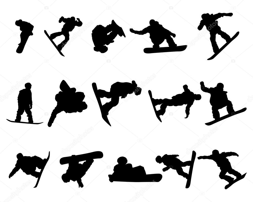 Snowboarder man silhouette set for design use — Stock Vector #3888313