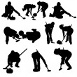 Curling silhouette set — Stockvectorbeeld