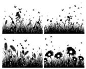 Set of grass silhouettes — Stock Vector