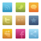 Square Social Media Icons — Stock Vector