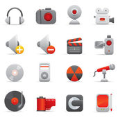 Multimedia Icons | Red Serie 01 — Stock Vector