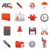 Office Icons | Red series 01 — Vettoriale Stock
