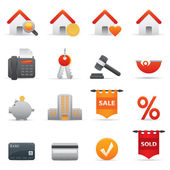 Real State Icons | Red Serie 01 — Stock Vector