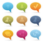 Bubble Chat Media Icons | 01 — Vector de stock
