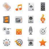 Entertainment Icons Set   Yellow Serie 02 — Stock Vector