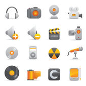 Multimedia Icons Set | Yellow Serie 01 — Stock Vector