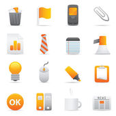 Office Icons Set | Yellow Serie 02 — Stock Vector