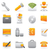Office Icons Set | Yellow Serie 03 — Stock Vector