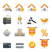 Real State Icons Set | Yellow Serie 01 — Stock Vector