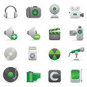 Multimedia Icons | Green 08 — Vector de stock