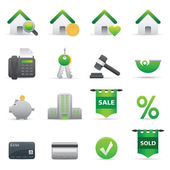 Real State Icons | Green 12 — Vettoriale Stock