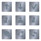 Chat Media Icons | Steel Square 01 — Stock Vector