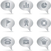 04 Silver Bubbles Office Icons — Stock Vector