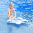 Happy small girl in a pool — Stock Photo #3440628