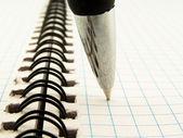 Ball-point pen on notebook — Stock Photo