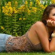Stock Photo: Woman on grass
