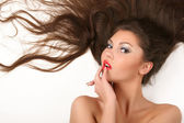 Woman with flowing hair — Stock Photo