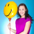 Woman with balloon — Stock Photo