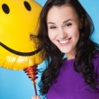 Stock Photo: Female with yellow baloon