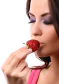 Woman with strawberry — Stock fotografie