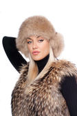 Woman wearing fur — Stock Photo