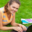 Pretty girl with laptop — Stock Photo