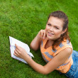 Teenager on grass — Stock Photo #3594356