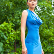 Sexy lady in blue dress - Stock Photo