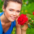 Lady with rose - Stock Photo