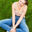 Pretty teen on grass — Stock Photo #3791323