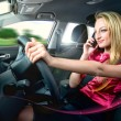 Driving and talking — Stockfoto