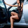 Woman in a car — Stock Photo