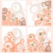 Set of four retro floral backgrounds — Stock Vector