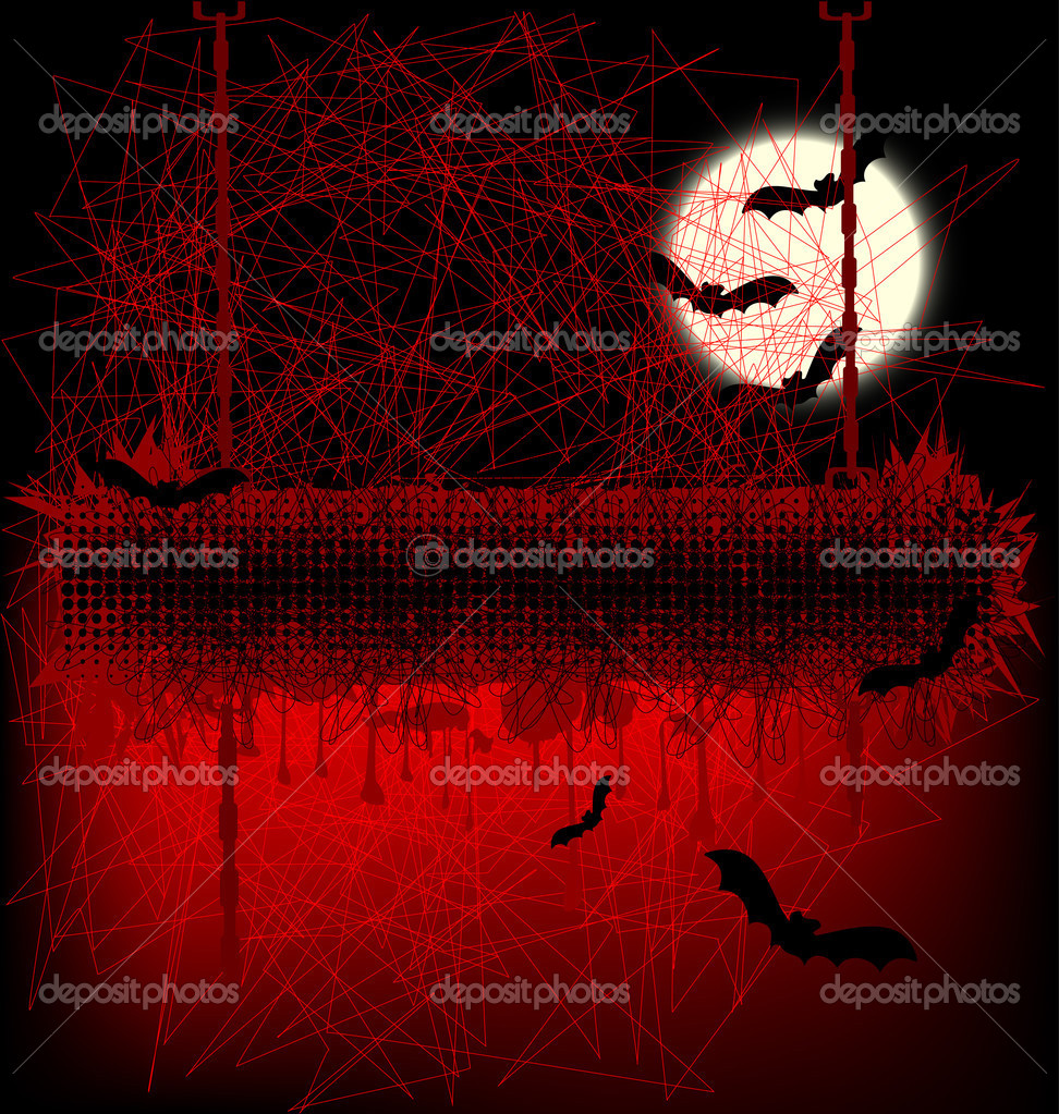 Scary Halloween banner with moon and bats — Stock Vector #3721086